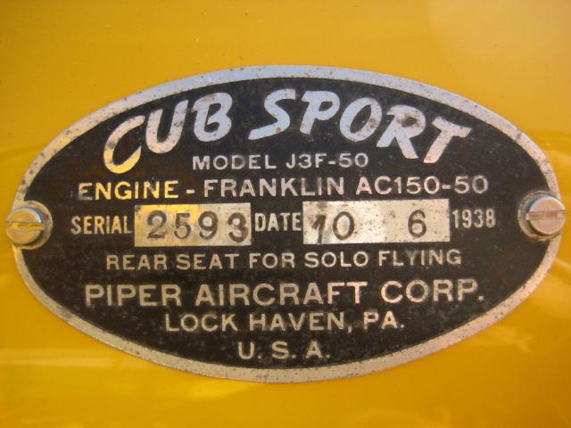 dataplate for j3 cub