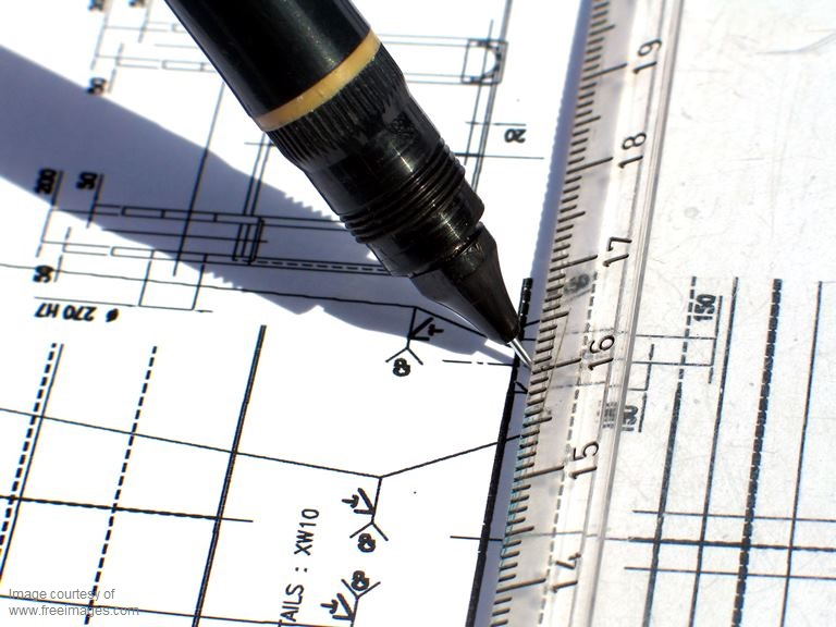 Pen, pencil, ruler, technical line drawing stock image.